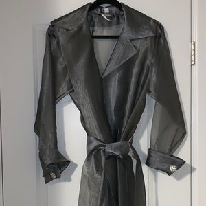 Collections Shimmery Grey Sheer Jacket w/Belt